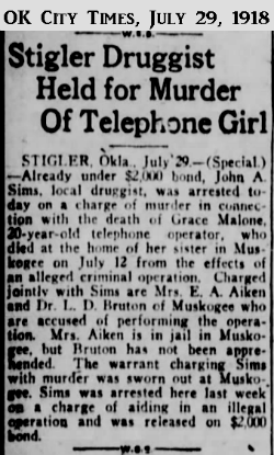 GraceMaloneOKCityTimes29July1918.png