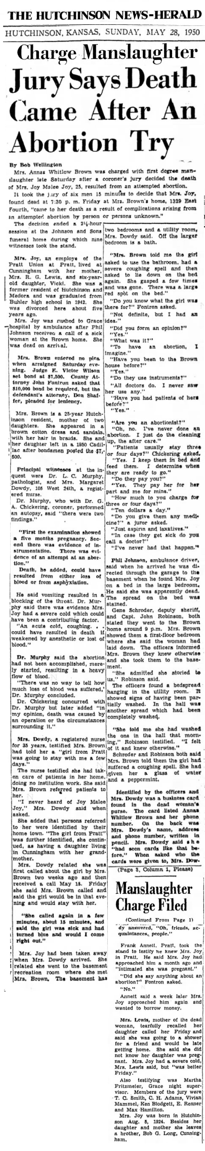 JoyJoyHutchinsonKSNews28May1950BannerHeadline.png